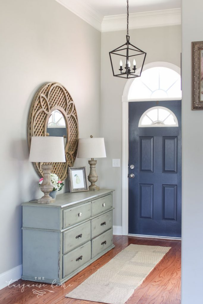 Hale Navy Painted Door   Darlana Pendant Lantern Knock-off for the Foyer! LOVE this light for less than $100!!
