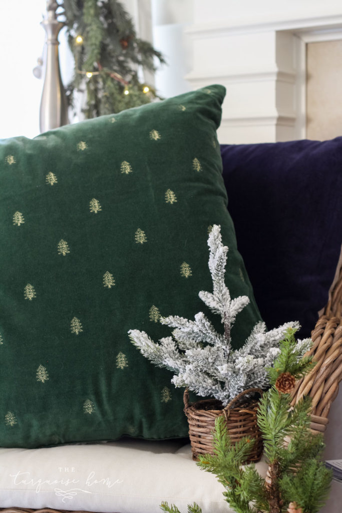 Green and Navy Simple Christmas Mantel - velvet and gold embroidered tree pillow