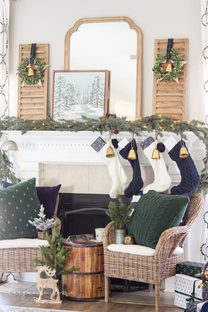 Green and Navy Simple Christmas Mantel