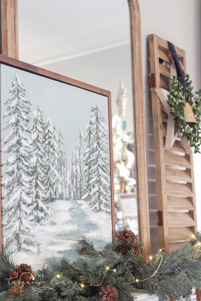 Green and Navy Simple Christmas Mantel - large mirror and shutters